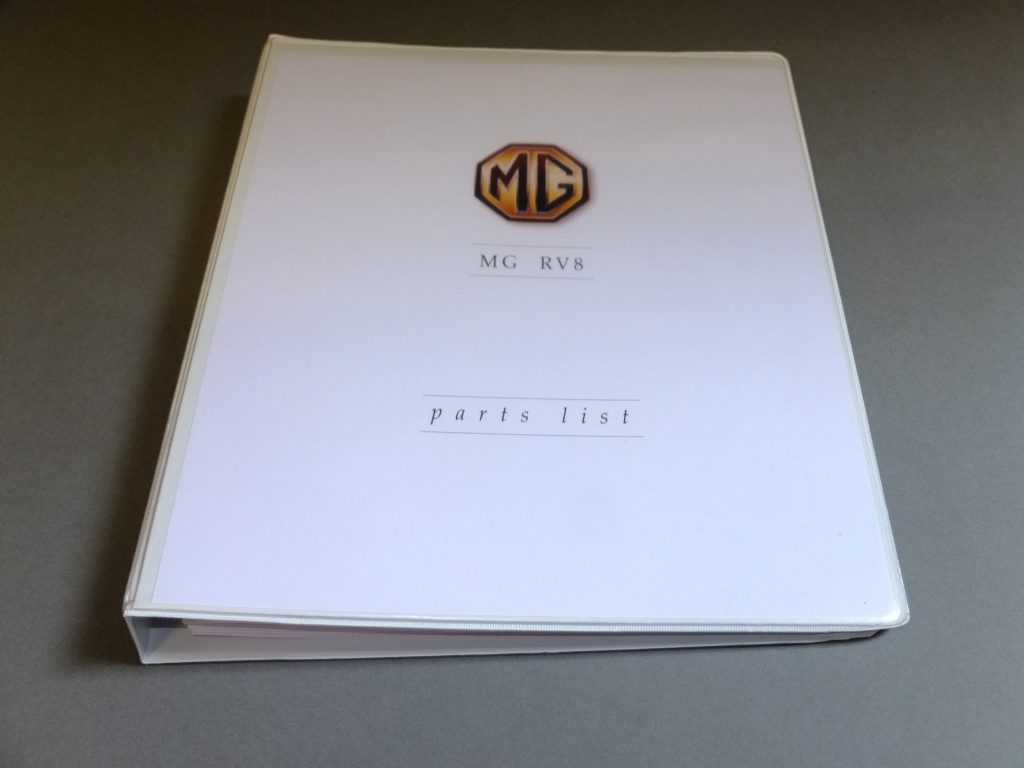 RV8 Parts manual - MG V8 and MG RV8 car parts